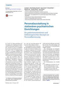 Der Nervenarzt – Personalausstattung in stationären psychiatrischen Einrichtungen - I. Hauth