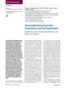Personalbemessung in der Psychiatrie und Psychotherapie